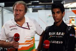 Bob Fernley, Sahara Force India F1 Team Deputy Team Principal with Jehan Daruvala, One From A Billion Academy Driver