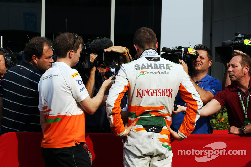 Paul di Resta, Sahara Force India F1 and Will Hings, Sahara Force India F1 Press Officer with the me