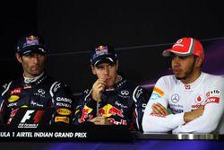 Sıralama turları sonrasıFIA basın toplantısı, Mark Webber, Red Bull Racing, 2.; Sebastian Vettel, Re