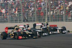 Romain Grosjean, Lotus F1 Team, Pastor Maldonado, Williams F1 Team et Bruno Senna, Williams F1 Team
