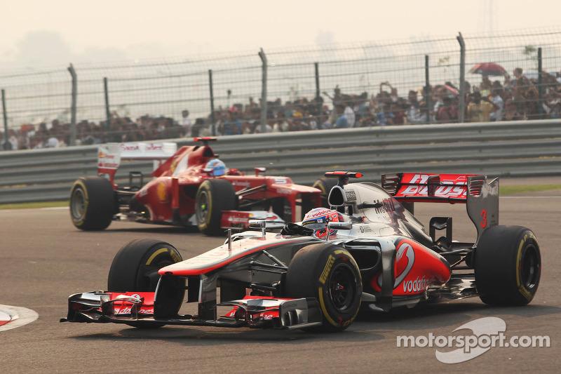 Jenson Button, McLaren en Fernando Alonso, Ferrari