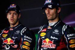 Winnaar Sebastian Vettel, Red Bull Racing en Mark Webber, Red Bull Racing in de persconferentie