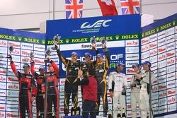 LMP1 private teams podium: winner Andrea Belicchi, Harold Primat, Cong Fu Chen, second place David B