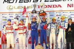 GT500 podium: winners Yuji Tachikawa, Kohei Hirate, second place and 2012 champions Masataka Yanagid