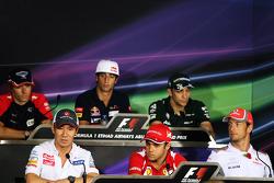 The FIA Press Conference, Charles Pic, Marussia F1 Team; Daniel Ricciardo, Scuderia Toro Rosso; Vitaly Petrov, Caterham; Kamui Kobayashi, Sauber; Felipe Massa, Ferrari; Jenson Button, McLaren