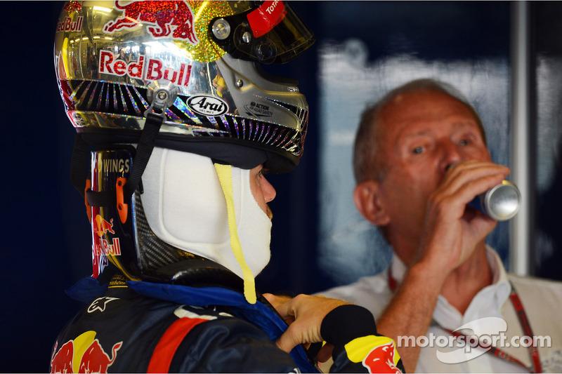 Sebastian Vettel, Red Bull Racing met Dr Helmut Marko, Red Bull Motorsport Consultant