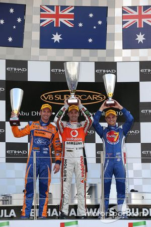 Podium: race winner Jamie Whincup, second place Will Davison, third place Tim Slade