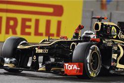 Le vainqueur Kimi Raikkonen, Lotus F1 fête sa victoire à la fin de la course