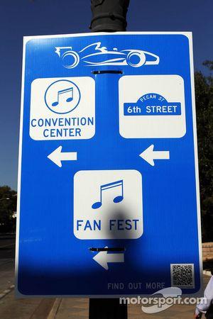 F1 verkeersbord in downtown Austin