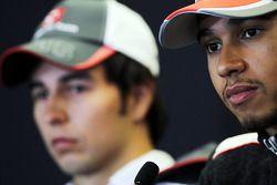 Sergio Perez, Sauber en Lewis Hamilton, McLaren in de FIA persconferentie