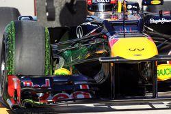 Flow-vis verf op de Red Bull Racing van Sebastian Vettel