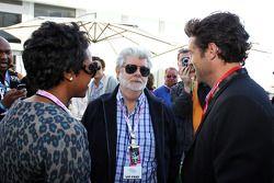George Lucas, Creador de Star Wars con su socio Mellody Hobson, y Patrick Dempsey, Actor