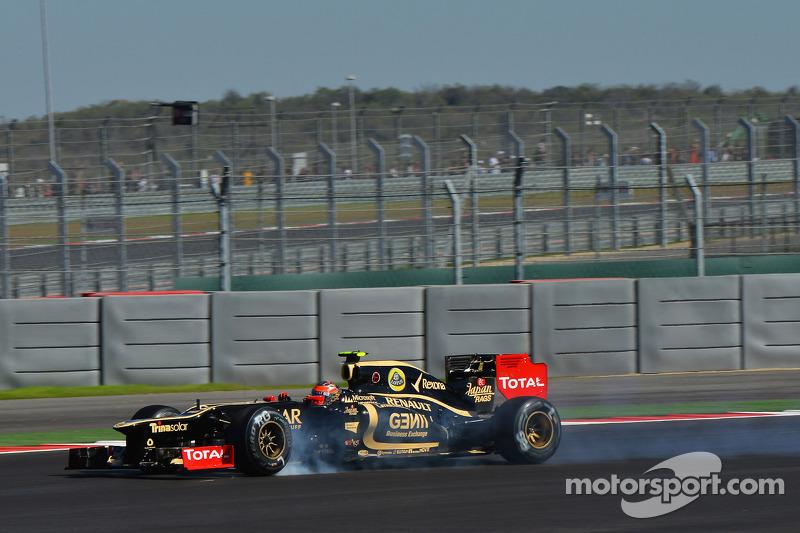 Romain Grosjean, Lotus F1 blokkeert banden tijdens het remmen