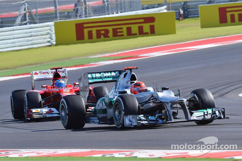 Michael Schumacher, Mercedes AMG F1 y Fernando Alonso, Ferrari