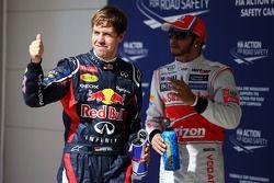 Sebastian Vettel, Red Bull Racing viert polepositie in parc ferme met Lewis Hamilton, McLaren