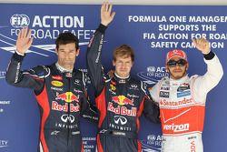 Polepositie Sebastian Vettel, Red Bull Racing, 2de Mark Webber, Red Bull Racing en 3de Lewis Hamilto