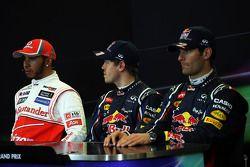 Kwalificaties FIA persconferentie, Lewis Hamilton, McLaren, 2de; Sebastian Vettel, Red Bull Racing,