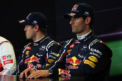 Kwalificaties FIA persconferentie, Sebastian Vettel, Red Bull Racing, polepositie; Mark Webber, Red