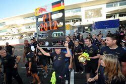 Red Bull Racing team viert kampioenschap bij de constructeurs