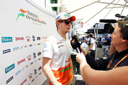 Nico Hulkenberg, Sahara Force India F1 with Ben Edwards, BBC TV Commentator