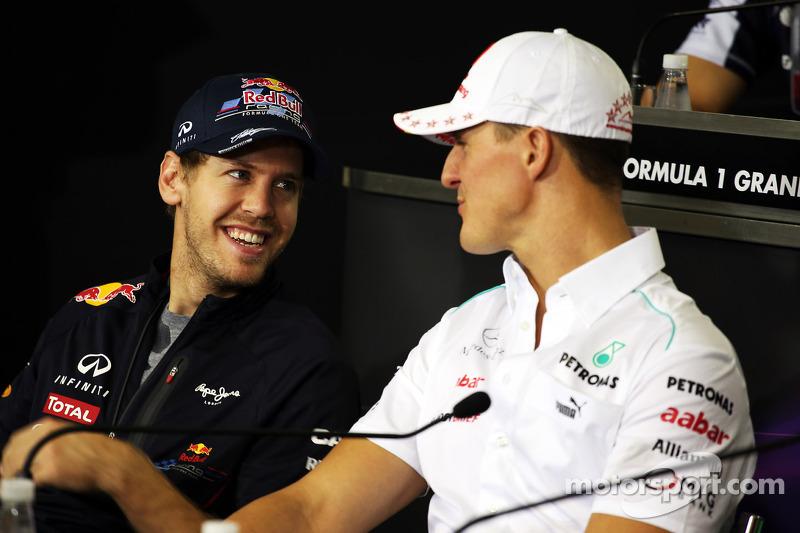 Sebastian Vettel, Red Bull Racing and Michael Schumacher, Mercedes AMG F1 en la conferencia de prens