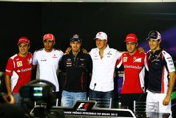 The FIA Press Conference, Felipe Massa, Ferrari; Lewis Hamilton, McLaren; Sebastian Vettel, Red Bull