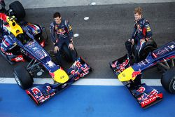 Mark Webber, Red Bull Racing RB8 and team mate Sebastian Vettel, Red Bull Racing RB8 at a team photo