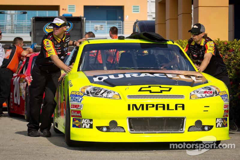 Car of Paul Menard, Richard Childress Racing Chevrolet at technical inspection