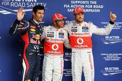 Polepositie Lewis Hamilton, 2de Jenson Button, 3de Mark Webber