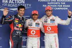 Polepositie Lewis Hamilton, McLaren Mercedes 2de Jenson Button, McLaren Mercedes en 3de Mark Webber,