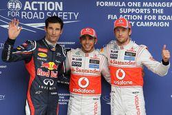 Polepositie Lewis Hamilton, McLaren Mercedes, 2de Jenson Button, McLaren Mercedes en 3de Mark Webber