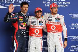 Qualifying parc ferme, Mark Webber, Red Bull Racing, third; Lewis Hamilton, McLaren, pole position; Jenson Button, McLaren, second