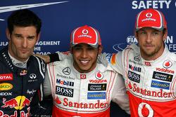 Mark Webber, Red Bull Racing, Lewis Hamilton, McLaren Mercedes and Jenson Button, McLaren Mercedes