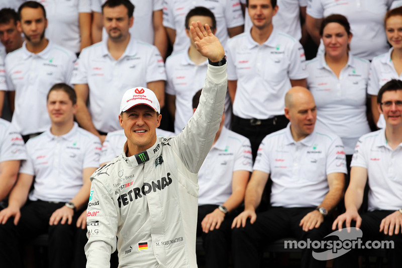 Michael Schumacher, Mercedes AMG F1 lors de la photo d'adieux