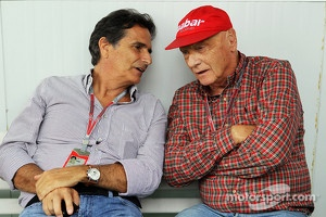 Nelson Piquet, with Niki Lauda, Mercedes Non-Executive Chairman