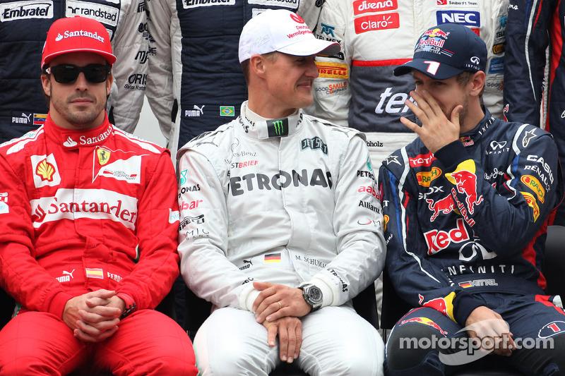 Fernando Alonso, Scuderia Ferrari, Michael Schumacher, Mercedes GP ve Sebastian Vettel, Red Bull Rac