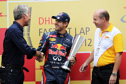 Sebastian Vettel, Red Bull Racing receives his DHL fastest lap award
