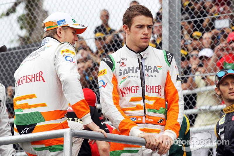 Nico Hulkenberg, Sahara Force India F1 and Paul di Resta, Sahara Force India F1 on the drivers parade