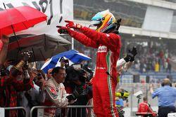 Fernando Alonso, Ferrari celebrates his second position in parc ferme