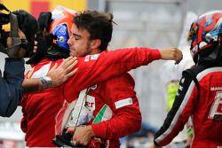 Fernando Alonso, Ferrari and Felipe Massa, Ferrari console each other in parc ferme