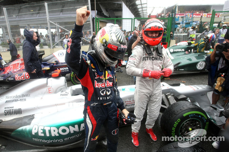 Sebastian Vettel, Red Bull Racing en Michael Schumacher, Mercedes GP
