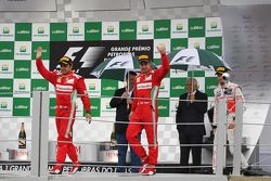Felipe Massa, Ferrari and Fernando Alonso, Ferrari celebrate on the podium