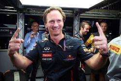 Christian Horner, Red Bull Racing Team Principal celebrates the championship for Sebastian Vettel, Red Bull Racing