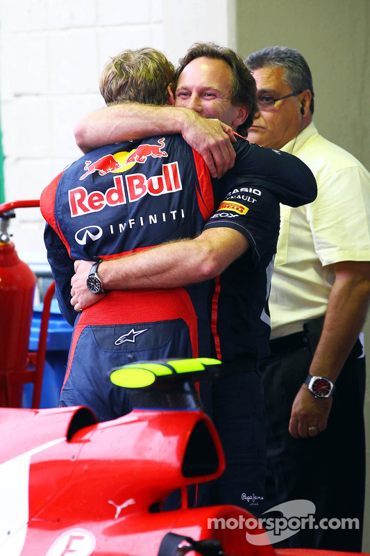 Sebastian Vettel, Red Bull Racing celebrates his World Championship with Christian Horner, Red Bull Racing Team Principal in parc ferme