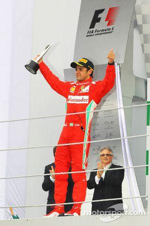 Felipe Massa, Ferrari celebrates his third position on the podium