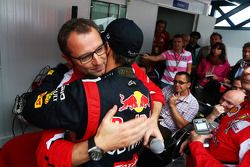 Sebastian Vettel, Red Bull Racing celebrates his World Championship with Stefano Domenicali, Ferrari