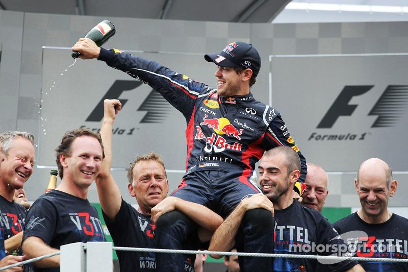 Sebastian Vettel, Red Bull Racing celebrates his World Championship with the team