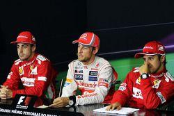 The FIA Press Conference: race winner Jenson Button, McLaren Mercedes, second place Fernando Alonso,