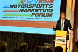 NASCAR CMO Steve Phelps speaks onstage at the NASCAR Motorsports Forum