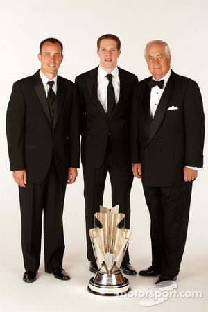 2012 champion Brad Keselowski with crew chief Paul Wolfe and team owner Roger Penske